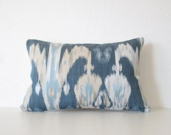 Blue Tones Ikat Pillow Cover