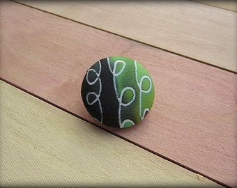 Covered Button Brooch Pin in Green Black Hand Painted Silk