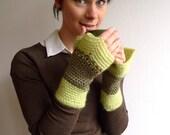 Fingerless Mittens, Crochet Driving Gloves, Fairy Mittens - DuoTone Green Wool, Mohair - Beaded Ornament - Bohemian Psytrance Accessories