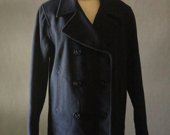Vintage 80's Navy Blue Merino Wool Peacoat, by J. Percy