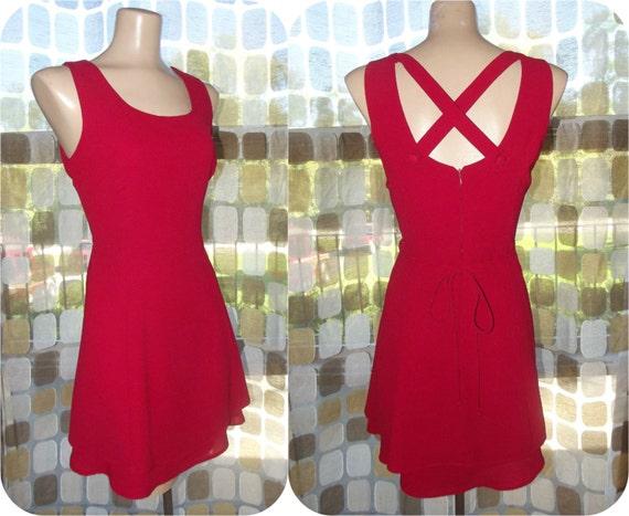 Vintage 80s RED Criss Cross Open Back Flirty Mini Dress 8/ Medium Full Sweep Party Dress