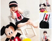 Mickey Mouse Birthday Tie and Suspenders One Piece Bodysuit & Black Shorts w White Buttons SET.  Baby Boy First Birthday Party Disney Style
