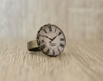Retro Style Clock Face Ring, Adjustable Ring, Antique Bronze Ring, Glass Dome Ring