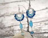 Vintage Earrings Blue Ocean Nautical Theme Fairy Medieval Royal Blue Turquoise Blue Light Blue Hoop Pendant Wire Wrapped Beadwork