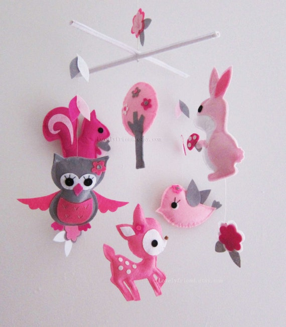 Items similar to baby mobile nursery mobile pink baby for Baby mobile pink and grey