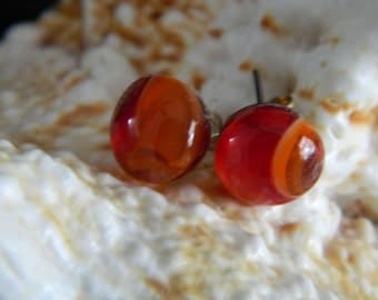Stud Earrings Fused Glass Orange Red Swirl