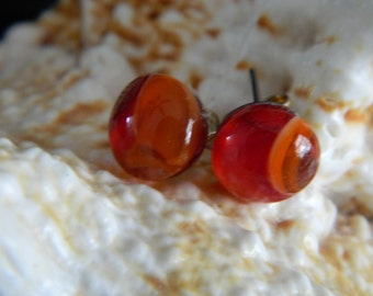 Fused Glass Stud Earrings Orange Red Swirl