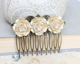 Gold Rose Hair Comb Bridal Hair Accessories Shabby Country Wedding Romantic Floral Modern Chic Antique Gold Winter Wedding Vintage Style