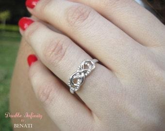 Diamond Infinity Knot Ring, Diamond Infinity Ring, Double Infinity Ring, Diamond Knot Ring, Double Knot Diamond Engagement Ring, Infiniti
