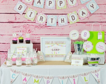 Camping Party Decorations - Girls Camping Party Decor by 505 Design, Inc