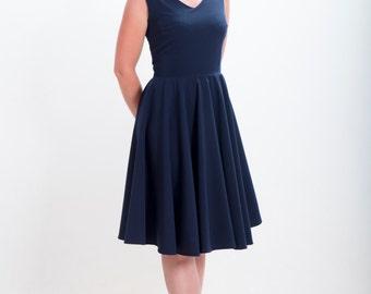 Navy blue bridesmaid dress, circle dress, vintage inspired dress