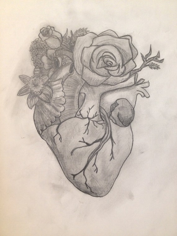 Items similar to Original Anatomical Heart with Flowers ...  Realistic