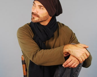 Men's Hat - Beanie - Slouchy Hat -  Organic Clothing  -  Espresso Brown - Eco Friendly