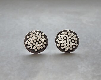 Sterling silver earrings. Sterling silver studs. Silver post. Granulated earrings. Disc studs. Stud earrings. Oxidized. MADE TO ORDER.