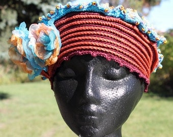 Blue & Orangy Crochet Hat with Two Beautiful Organza Flowers...