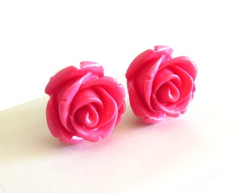 Magenta Carved Rose Stud Earrings (17mm Diameter)