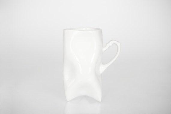 White Porcelain cup - handmade for tea or coffee mug