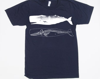 mens whale and skeleton shirt- American Apparel navy- available in s,m,l, xl, xxl -WorldWide Shipping
