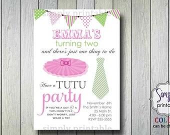 Tutu and Tie Birthday Party Invitation (printable)