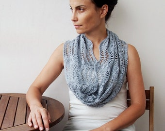 CROCHET PATTERN  Woman infinity scarf  ripples caplet crochet shrug lace circle infinity scarf crochet waves wrap DIY Instant download