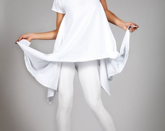 Asymmetrical White T-Shirt, Avant Garde Clothing, Edgy Designer Tee, Minimalistic Fashion, Oversize Spring Top, by LENA QUIST