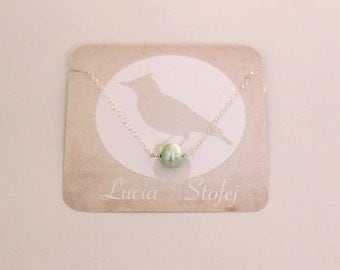 Bridal Necklace - Mint Green Pearl Necklace - Sterling Silver Necklace - Gift for Women - Wedding Mint Green - Bridesmaids Necklace Mint
