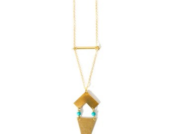 Vintage inspired// double triangle chevron necklace// Brass bohemian// tiny turquoise beads