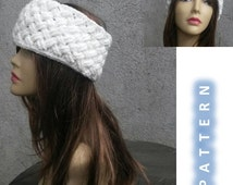 INSTANT DOWNLOAD Entrelac Basket Earwarmer Headband with Flower - Crochet Pattern