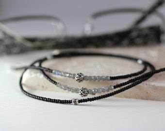 Labradorite Eyeglass Chain Necklace, Silver Eyeglass Chain, Silver Black Eyeglass Chain Necklace, Black Eyeglass Chain, Silver Lanyard