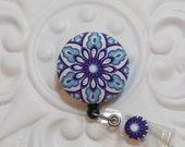 Retractable Badge Holder Id Reel  Fabric Covered Button  Purple Turquoise Black