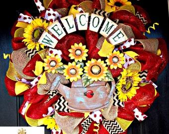 Welcome Sunflower Summer Wreath
