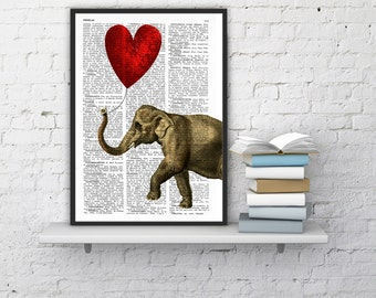 Spring Sale Elephant Art Print, DICTIONARY Art Print, Heart shaped balloons Wall Decor, Elephant POSTER Dorm Decor Fun Love BPAN083