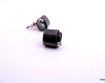 Black Silver Stud Sterling Earrings - Black Studs -  Minimal Dainty small studs - Modern Stud Earrings gift for her