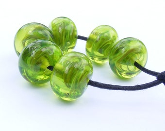 Handmade lampwork bead set of 6 lime green swirly beads
