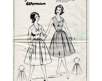 1960s Fit and Flare Day Dress Pattern With Full Skirt English Woman W6 Vintage Sewing Pattern Bust 32 34 36 38 40 FF Unused