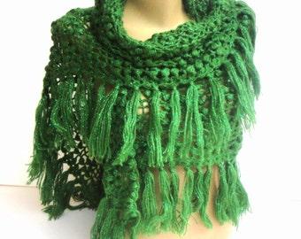 green Crochet Shawl Scarf Winter Accessories Women Wrap Crochet Scarf Shawl Gift ideas Crocheted Shawl senoaccessory