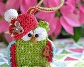 Crochet christmas owl ornament - crochet pattern DIY