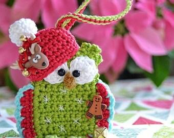 Crochet pattern - christmas owl ornament by VendulkaM/ DIY, pdf