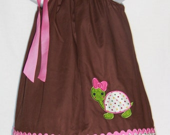 Turtle Pillowcase Dress / Pink / Brown / Cute / Birthday / Newborn / Infant / Girl / Baby / Toddler / Handmade / Custom Boutique Clothing