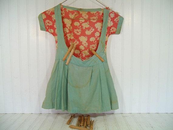 vintage shabby chic apron clothes pin bag retro sea foam