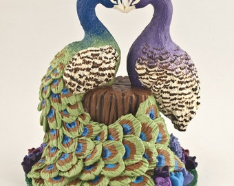 Peacocks in Love Wedding Cake Topper