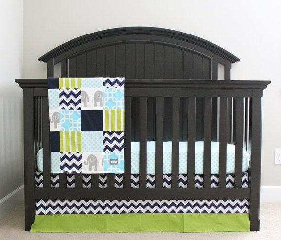 Crib bedding navy blue lime green aqua and grey by - Navy blue and green bedding ...