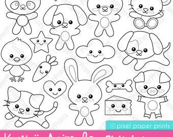 Kawaii animals - Digital Stamps