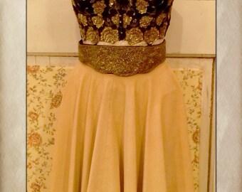Vintage 1950s Circle Skirt Rockabilly Corduroy Metallic Gold Rickrack