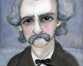 Mark Twain Art Print, Writers Portrait, Literary Illustration (6x8) Victorian Decor