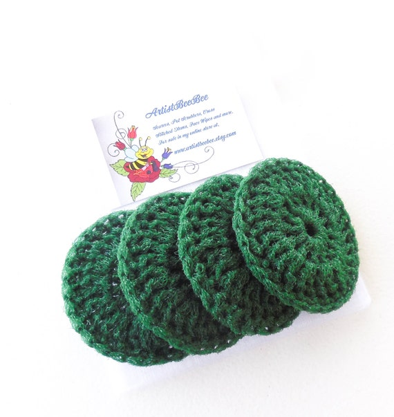 Nylon Dish Scrubbies - Christmas Tree Green - Set of 2 through 8 - Crochet Pot Scrubber
