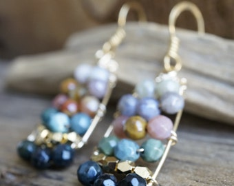 Wire Wrapped Faceted Agate Bead Earrings - Gold Wire Wrapped Earrings  - Earth Tone Natural Agate Earrings - Ombre Earrings