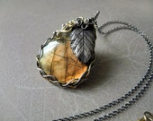 Golden silver necklace, labradorite penadnt, wire wrapped necklace, leaf necklace, luxury jewelry, statement necklace