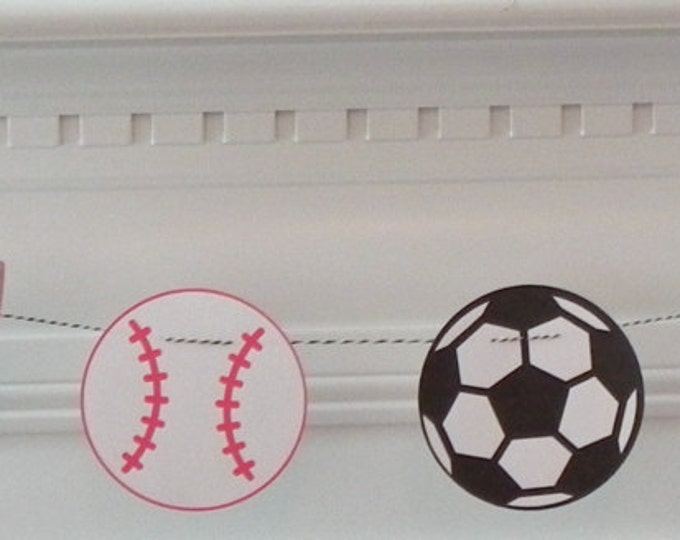 Party Banner: All Star Sports Shapes Baby Shower or Birthday Party - die cut basketball football baseball soccer