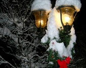 Festive Winter Holiday Photo,Home Decor, Christmas Wreath, Snow, Lamp Post Fine Art, Street Light during Snowfall, Night Photography - BlackCatPhotographs